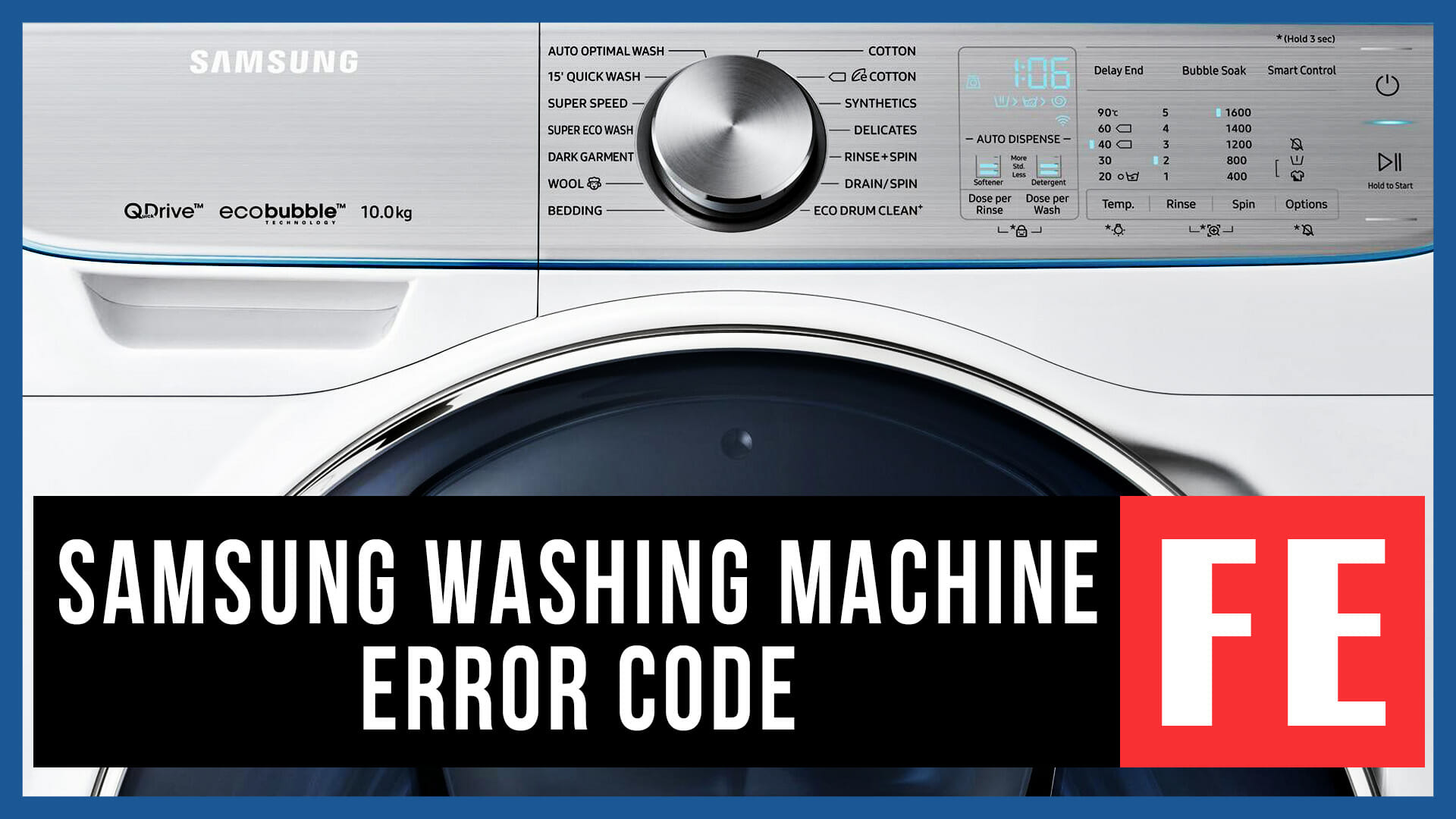 Samsung washer error code FE | Causes, How FIX Problem