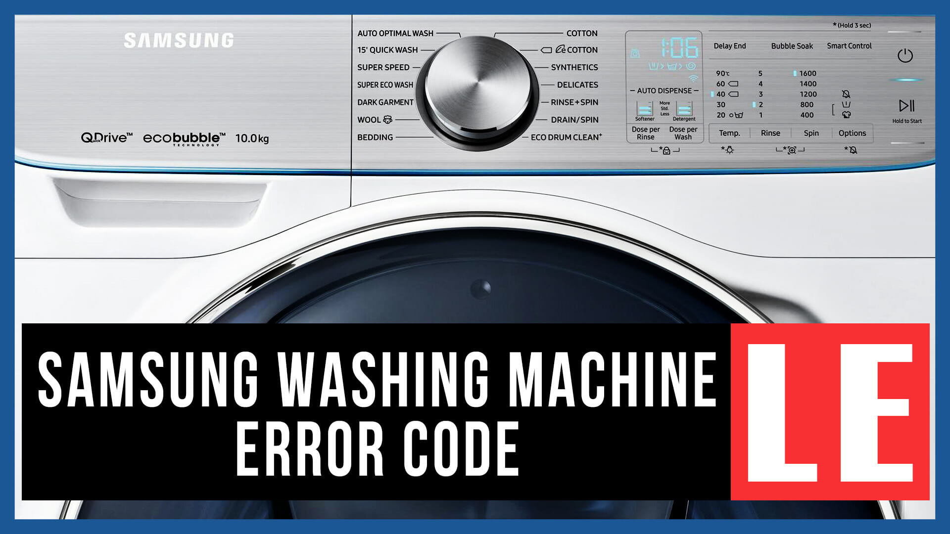 Samsung washing machine error code LE