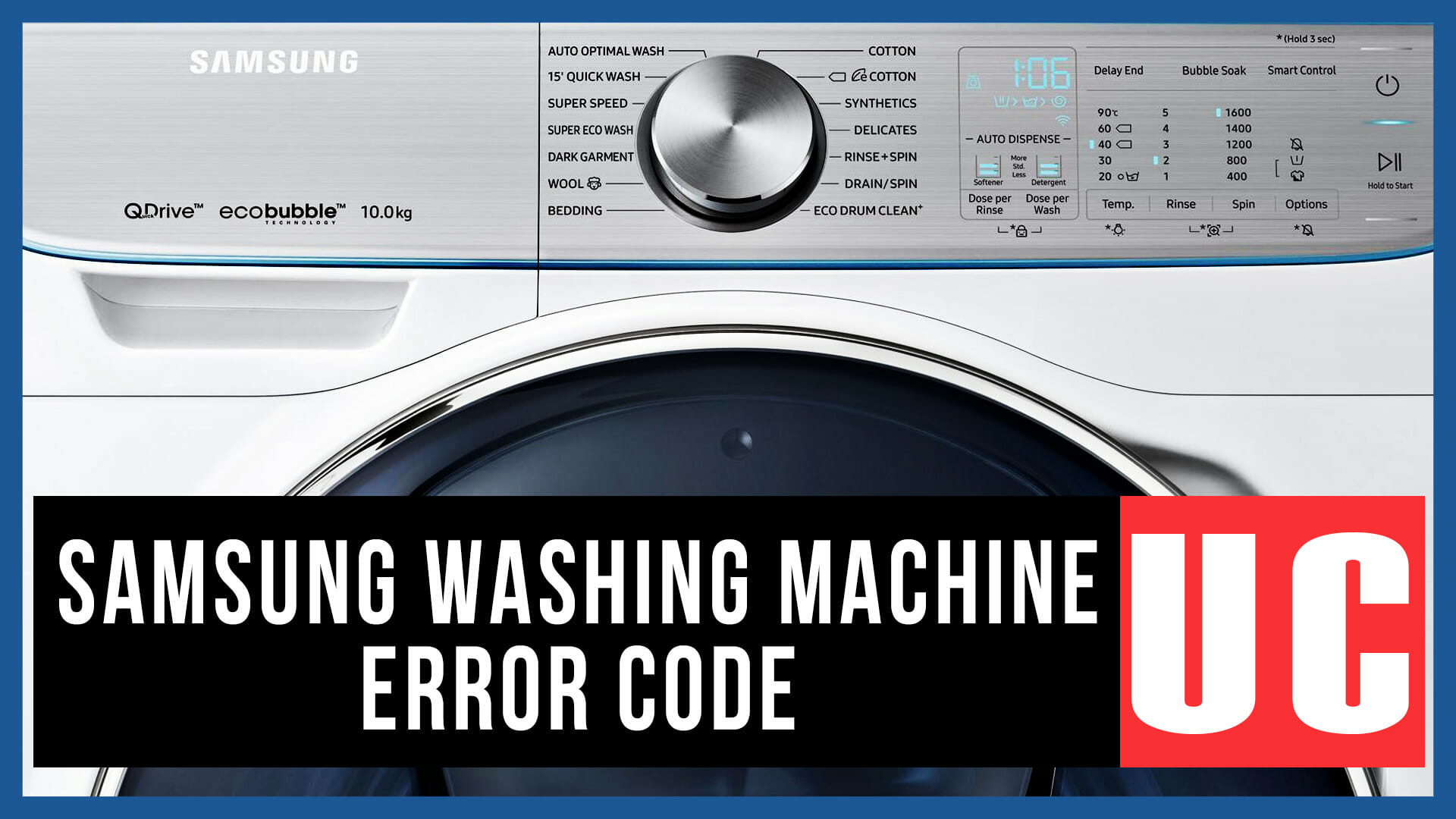 Samsung washing machine error code UC