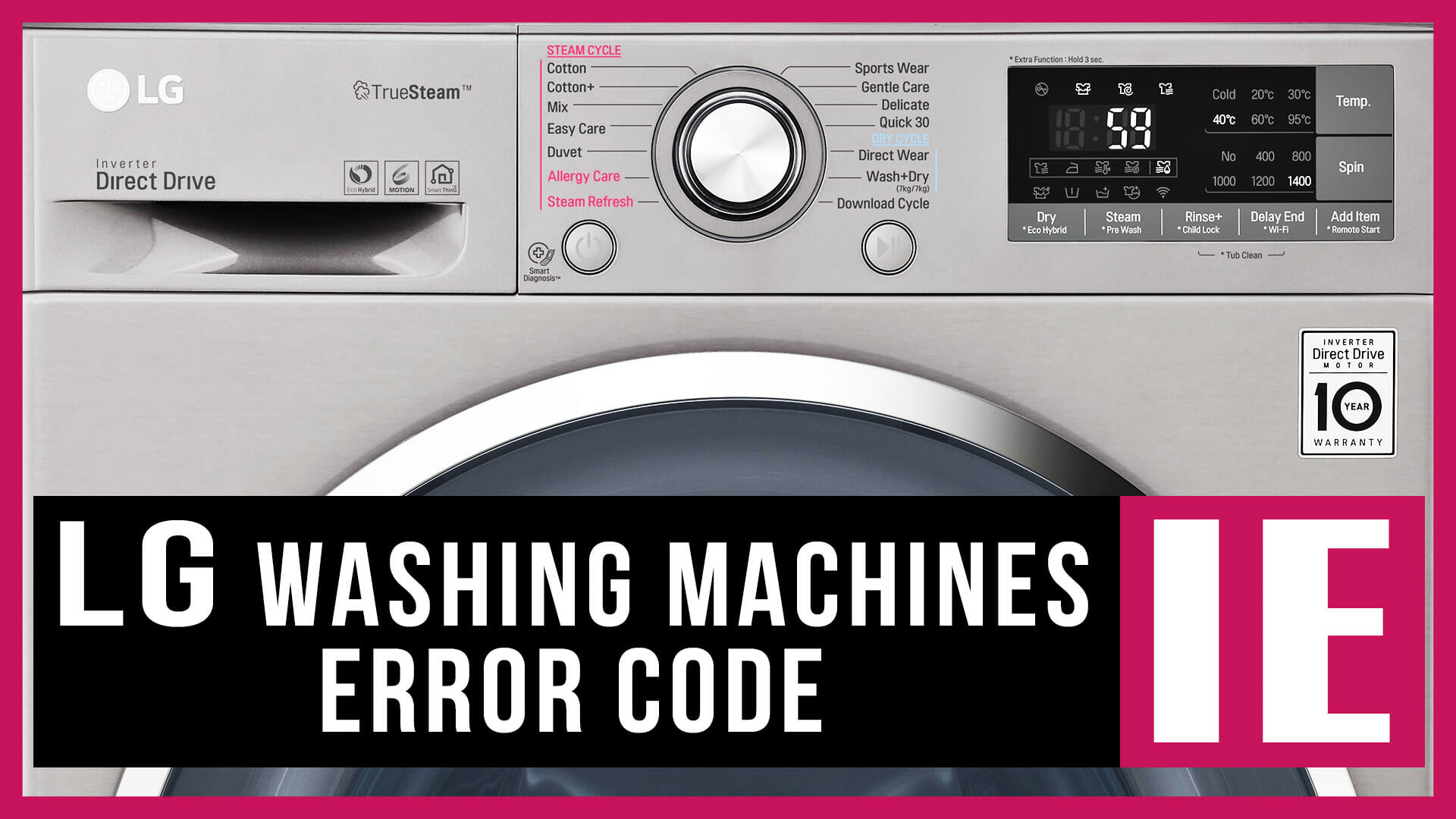LG washing machines error code IE