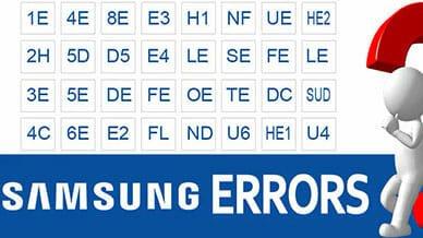 Samsung error codes washer