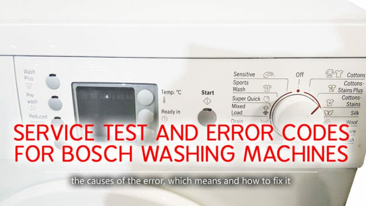 Service test and error codes for Bosch washing machines