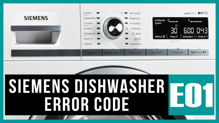 Siemens dishwasher error code e01