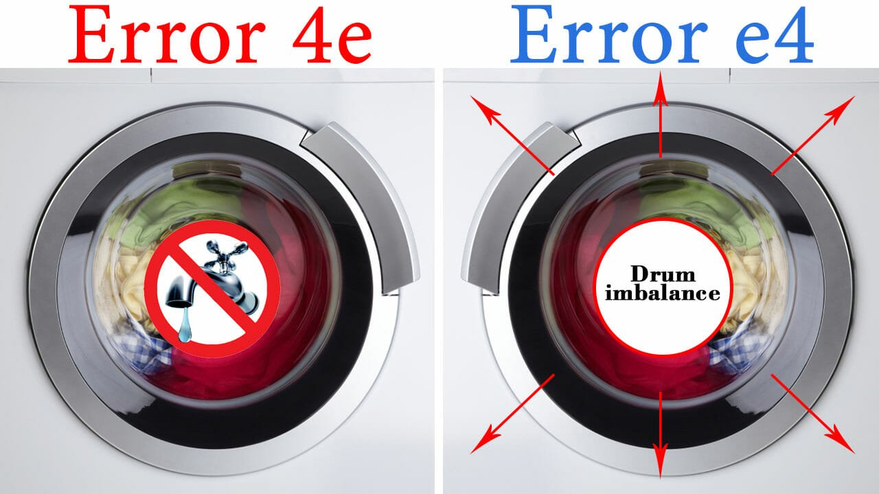 The value of error codes 4E and E4 in washing machines Samsung