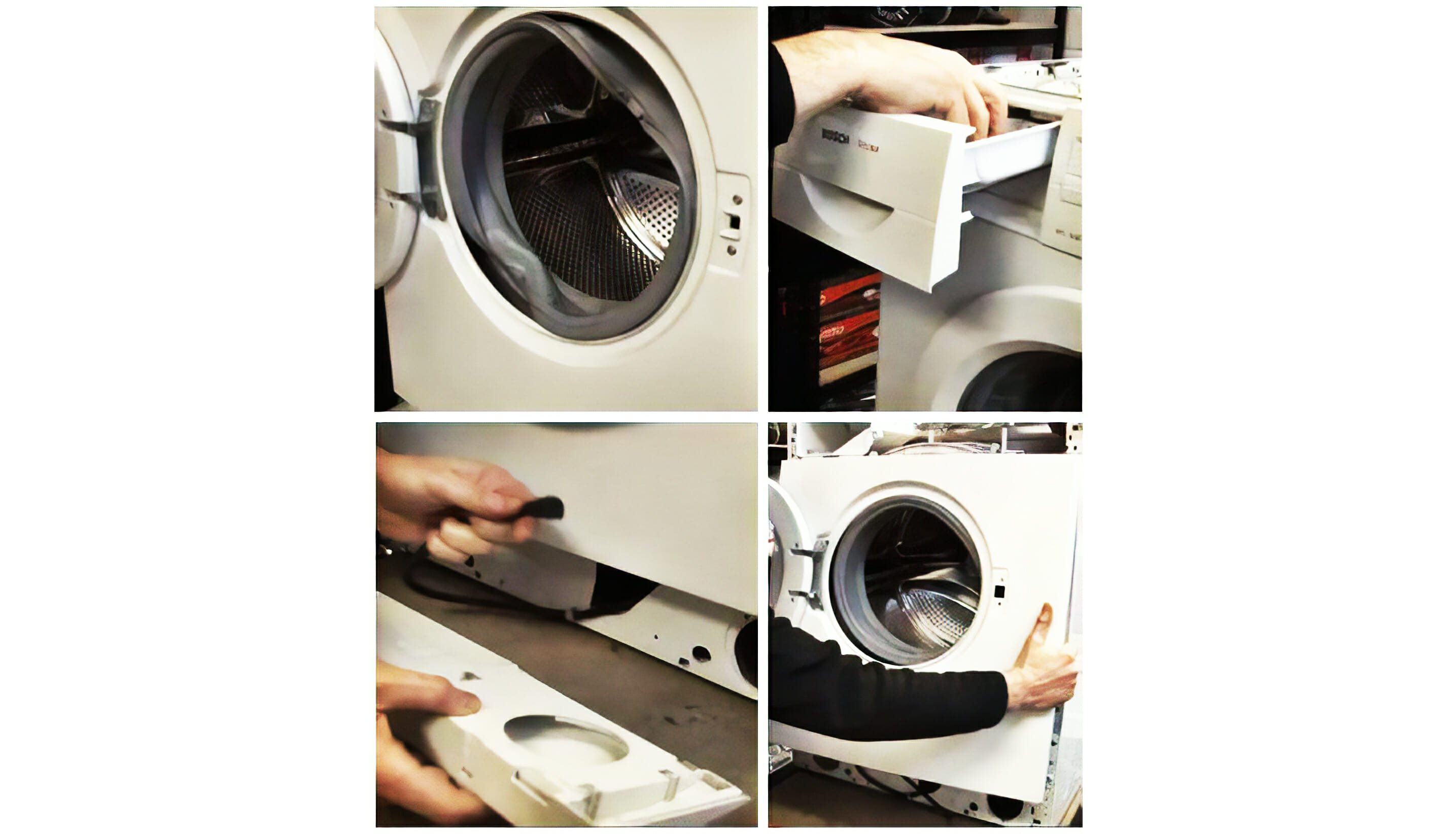 We remove the front part of the body of washing machine Bosch