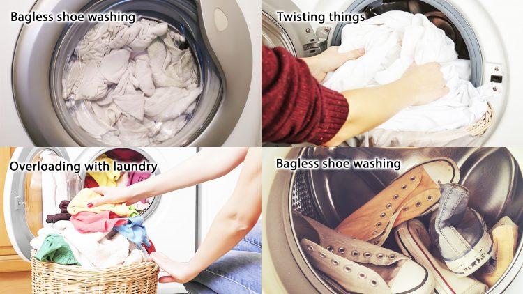 Incorrect load of laundry into washing machine